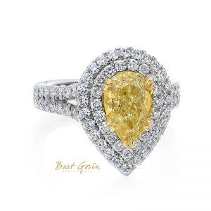 pear shaped yellow diamond